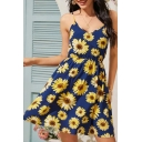 Girls Fashionable All over Sunflower Printed Spaghetti Straps V-neck Short A-line Cami Dress in Blue