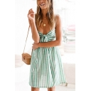 Pretty Girls Stripe Printed Sweetheart Neck Tied Front Short Pleated Flared Slip Dress