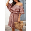 Glamorous Ditsy Floral Print Ruffled Bi-layered Short Sleeve Off the Shoulder Short A-line Dress