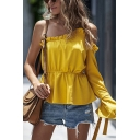 Pretty Womens Stringy Selvedge Bow Tie Single Sleeve Oblique Shoulder Ruffled Regular Fit T Shirt in Yellow