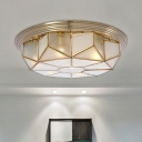 Geometry Living Room Flush Mount Colonial Cream Glass 6 Lights Brass Close to Ceiling Lighting