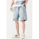 Unique Shorts Jean Shorts Light Wash Ripped Raw Edge Pocket Drawstring Mid Rise Loose Fitted Jean Shorts for Men
