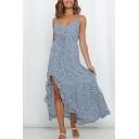 Charming Womens Ditsy Flower Pattern Spaghetti Straps V-neck Slit Side Ruffled Maxi A-line Slip Dress in Blue