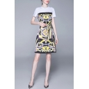 Popular Womens Totem Printed Short Sleeve Crew Neck Bow Tied Waist Short A-line T-shirt Dress in Yellow