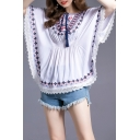 Ethnic Womens Flower Embroidered Lace-trimmed Batwing Sleeve Round Neck Tied Front Gathered Waist Relaxed Shirt Top