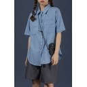 Stylish Blue Short Sleeve Spread Collar Button-up Flap Pockets Curved Hem Relaxed Shirt Top