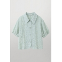 Ladies Fancy Solid Color Short Sleeve Point-collar Button up Relaxed Fit Shirt