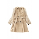 Ladies Formal Wear Solid Color Double Breasted Flap Pockets Buckle Belt Patchwork Mesh Long Sleeve Lapel Collar Plus Sized Midi Trench Coat