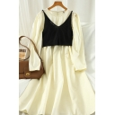Hot Popular Girls Solid Color Knitted Cami Top & Pleated Long Puff Sleeve Crew Neck Midi A-Line Dress