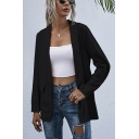 Formal Womens Solid Color Flap Pocket Shawl Collar Long Sleeve Open Front Tunic Blazer Coat