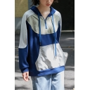 Vintage Patchwork Zipper Front Drawstring Kangaroo Pocket Long Sleeve Varsity Style Relaxed Fit Hoodie