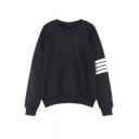 Women's Korean Stripes Sleeve Hoodies Pullover Loose Sweater Sweatshirts