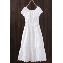 Round Neck Sleeveless Hollow Out Plain Maxi A-Line Dress