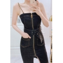 Cool Black Faux Leather Panel Zip Front Chain Embellished Mini Fitted Overall Dress