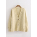 Leisure Solid Color Long Sleeve V-neck Button Down Knit Relaxed Fit Cardigan