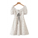 Pretty Womens Ditsy Floral Printed Puff Sleeve Sweetheart Neck Drawstring Pintuck Short A-line Dress in White