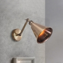 Metal Conical Reading Wall Lamp Farmhouse 1 Head Bedside Wall Mounted Lighting in Brushed Brass