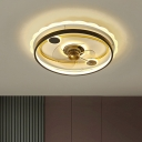 Metallic Round Semi Flush Mount Modern 19.5