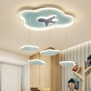 Blue Cloud Hanging Ceiling Light Cartoon LED Metallic Suspension Lighting for Bedroom