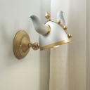 Gold-Silver Horn Hat Wall Mounted Light Cartoon 1 Head Metallic Wall Lamp Fixture