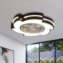 Modern Windmill Flush Ceiling Fan Lamp Acrylic 21.5