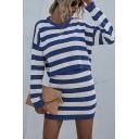 Popular Stripe Printed Long Sleeve Crew Neck Relaxed Crop T Shirt & Mini Sheath Skirt Set in Blue
