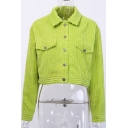 Stylish Knit Flap Pockets Long Sleeve Spread Collar Button Up Regular Crop Jacket in Green
