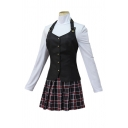 Popular Girls Long Sleeve High Neck Patched Button Down Fit Top & Plaid Print Short Pleated Skirt Co-ords in White