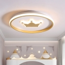 Nordic Style LED Flush Mount Light Gold/Coffee Crown/Monkey Close to Ceiling Lighting with Metal Shade