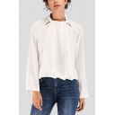 Chic Womens Solid Color Hollow Out Stand Collar Long Sleeve Loose Fit Blouse Top