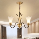 Colonial Scallop Hanging Pendant 3/6 Heads White Glass Suspension Lighting Fixture in Brass