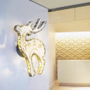 Modernism Elk Wall Lighting White Metal LED Bedroom Wall Mounted Light Fixture in White/Warm Light with Crystal Block Accent