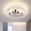 White LED Round Ceiling Fixture Modern Acrylic Flush Mount Lighting with Building Design