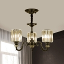 Prismatic Crystal Cylinder Up Chandelier Retro 3/6 Bulbs Dining Room Hanging Light Fixture in Black