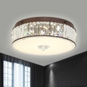 Clear Crystal Drum Flush Mount Light Simplicity 19.5