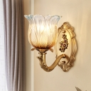 Clear Glass Gold Finish Wall Lighting Idea Floral Shade 1/2-Head Antiqued Wall Lamp Fixture