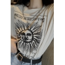 Fashion Womens Letter Cartoon Sun Graphic Short Sleeve Crew Neck Relaxed Fit T-shirt in Khaki