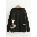 Fashion Ladies Cartoon Embroidered Long Sleeve Crew Neck Button up Knit Relaxed Fit Cardigan