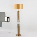 Crystal Pillar Floor Lamp Postmodern 1 Bulb Living Room Standing Light with Drum Shade in Gold