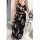 Pop Womens All over Floral Leaf Print Hollow Out Waist  Lace Backless V Neck Spaghetti Straps Sleeveless Maxi A-Line Sundress