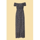 Novelty Ditsy Floral Printed Slit Front Ruched Gathered Waist Off the Shoulder Short Sleeve Maxi A-Line Dress for Women