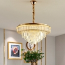 Dining Room LED Suspension Lighting Modern Clear Chandelier Pendant Light with Tiered Crystal Shade