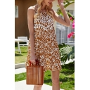 Pretty Womens Ditsy Floral Printed Spaghetti Straps Fringe Short A-line Slip Dress in Yellow
