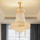 K9 Crystal Bead Gold Drop Pendant Basket Shaped 5/8-Head Modernist Chandelier Lighting
