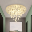 Crystal Circle Flush Mount Lighting Modern Bedroom LED Ceiling Fixture with Cascading Butterfly, White Light/Remote Control Stepless Dimming
