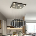 Layered Crystal Rods Multi Pendant Novelty Modern Dining Room LED Hanging Ceiling Light in Black
