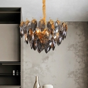 Contemporary Leave Hanging Chandelier Crystal Block 4 Bulbs Study Room Suspension Pendant in Gold