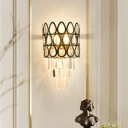 Contemporary Cascade Wall Mount Light Hand-Cut Crystal 3 Bulbs Wall Sconce Lighting in Black/Gold