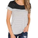 Trendy Stripe Printed Short Sleeve Round Neck Loose Fit Tee Top for Women