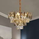 Postmodern Tiered Chandelier 5 Lights Clear Beveled Crystal Suspension Lighting over Table